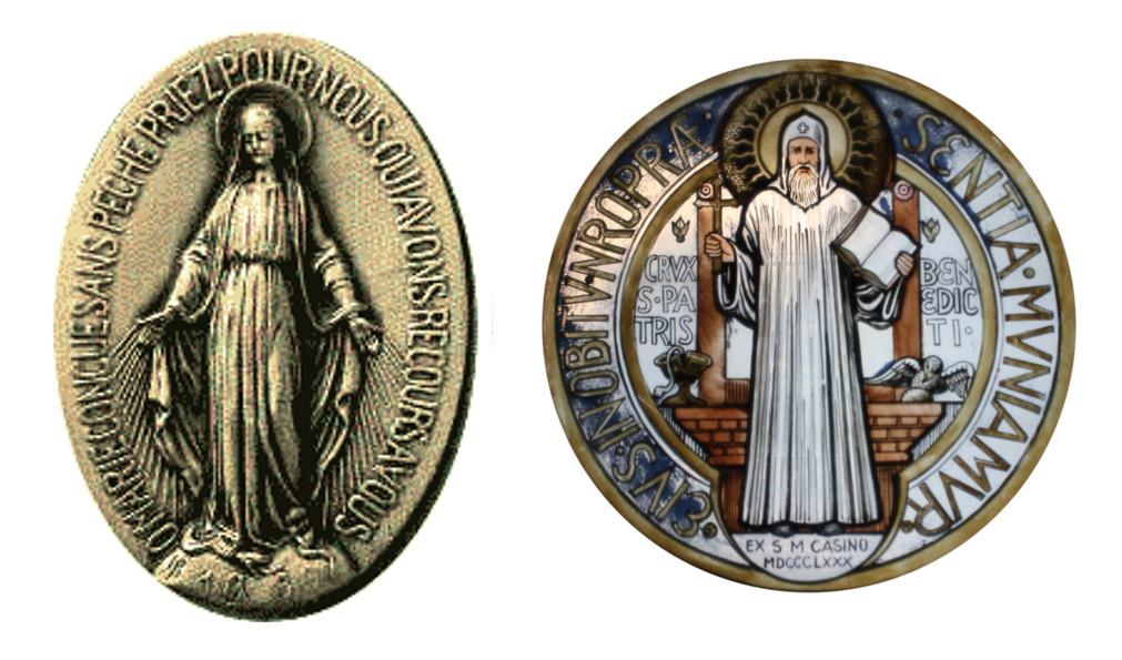 Medaglia miracolosa e Medaglia di San Benedetto da Norcia.
