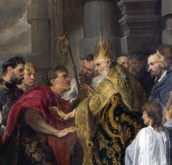 Sant'Ambrogio e Teodosio I imperatore.